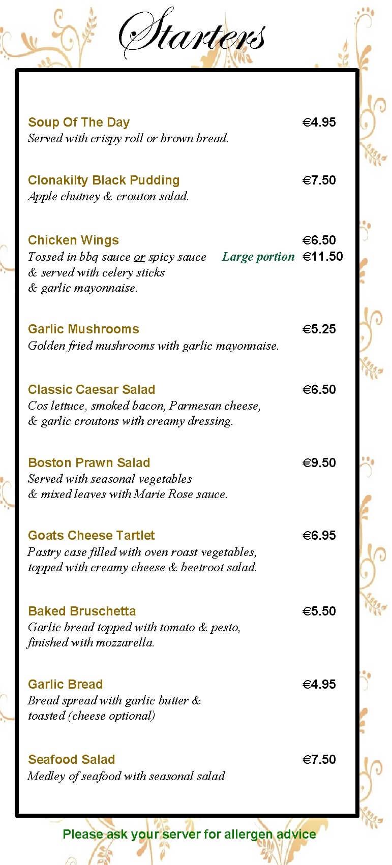 menu at the valley inn mullary