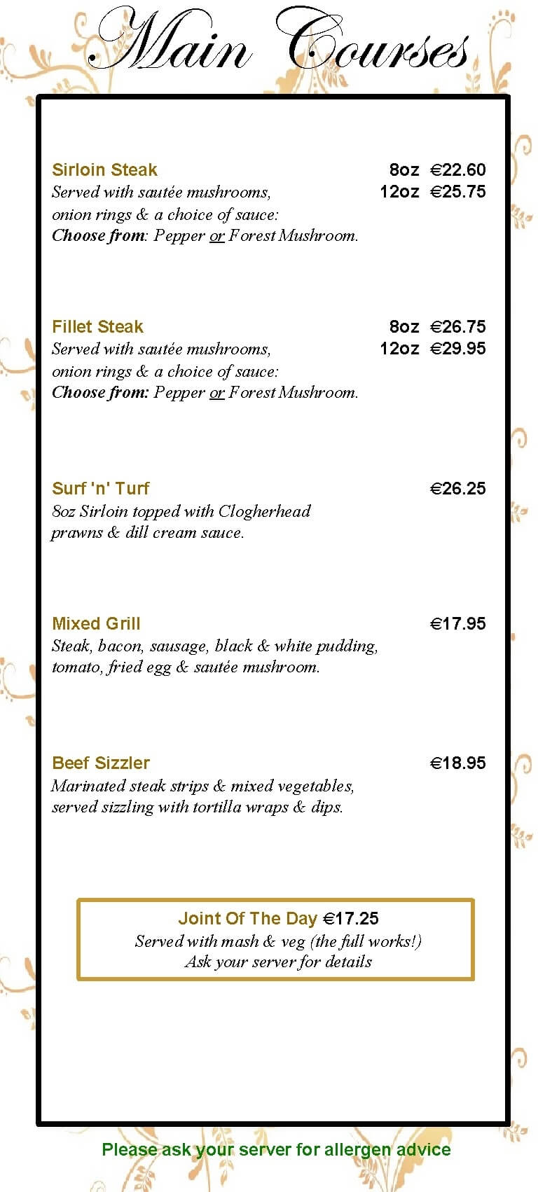 menu at the valley inn mullary