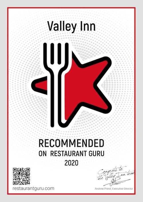 the valley inn take away menu